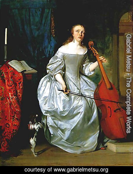 Gabriel Metsu - Woman Playing the Viola da Gamba
