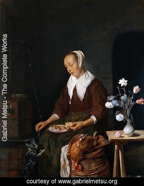 Gabriel Metsu - Woman Eating and Feeding her Cat