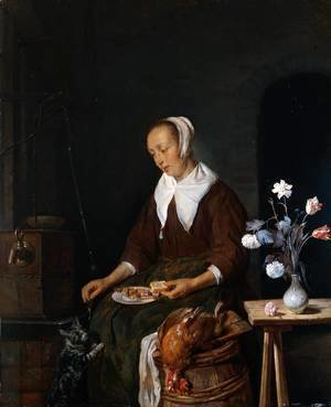 Woman Eating and Feeding her Cat