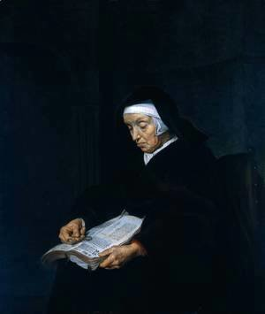 Gabriel Metsu - Old Woman Meditating