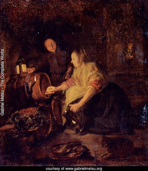 A Woman Drawing Wine From A Barrel