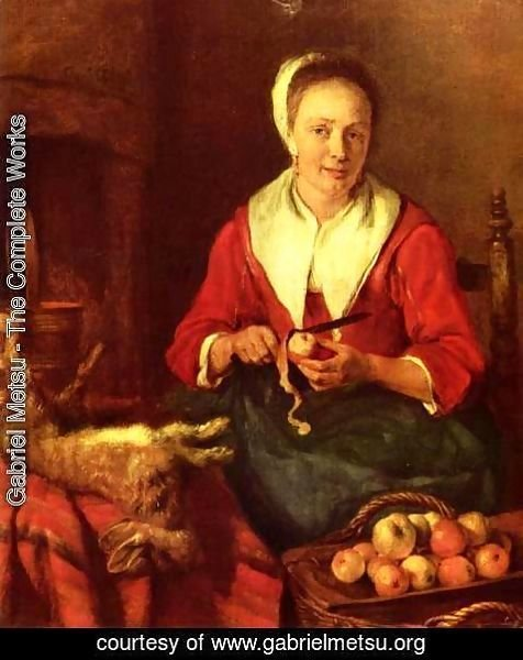 Gabriel Metsu - Woman Peeling an Apple