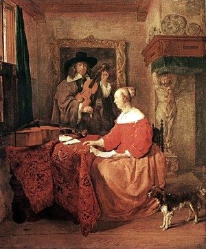 Gabriel Metsu - A Woman Seated at a Table and a Man Tuning a Violin