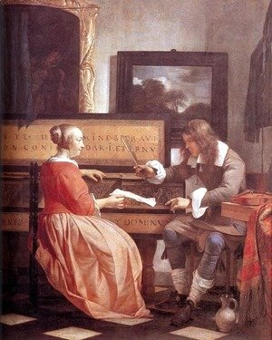 Gabriel Metsu - Man and Woman Sitting at the Virginal 1658-60