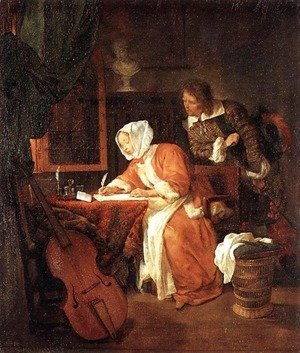 Gabriel Metsu - The Letter-Writer Surprised c. 1662