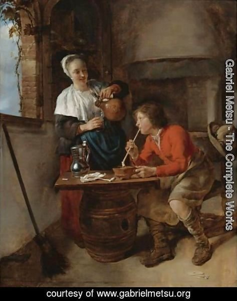 Young Woman Pouring Beer And A Young Man Smoking In An Interior
