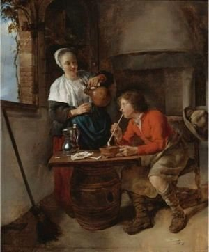 Gabriel Metsu - Young Woman Pouring Beer And A Young Man Smoking In An Interior
