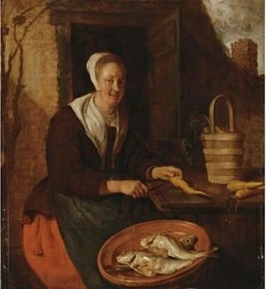 Gabriel Metsu - A Kitchenmaid Preparing Carrots