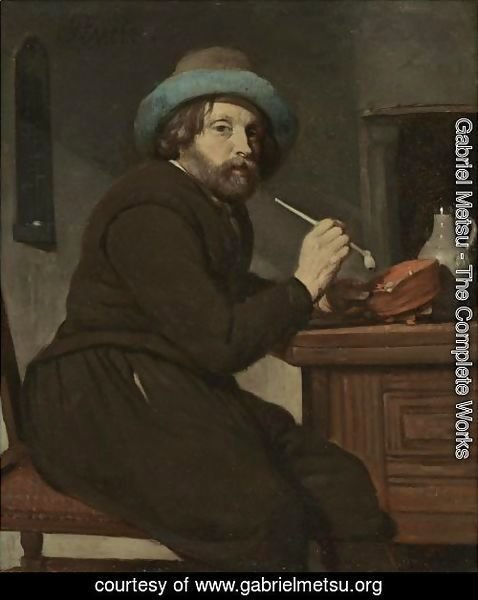 A Smoker Seated At A Table