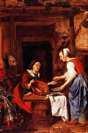 Gabriel Metsu - An Old Woman Selling Fish