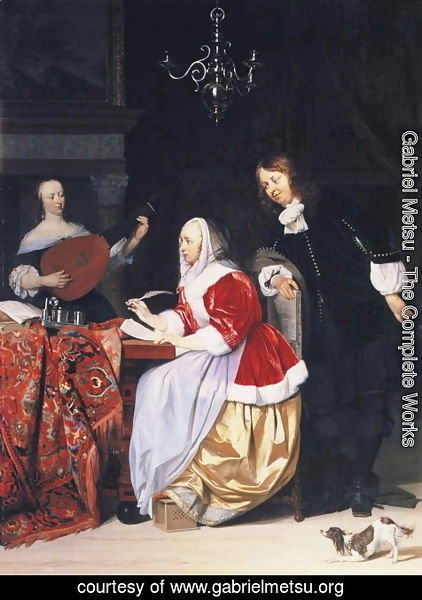 Gabriel Metsu - A Young Woman Composing Music