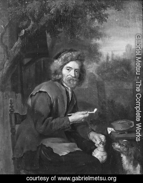 Gabriel Metsu - An Old Man Holding a Pipe and a jug