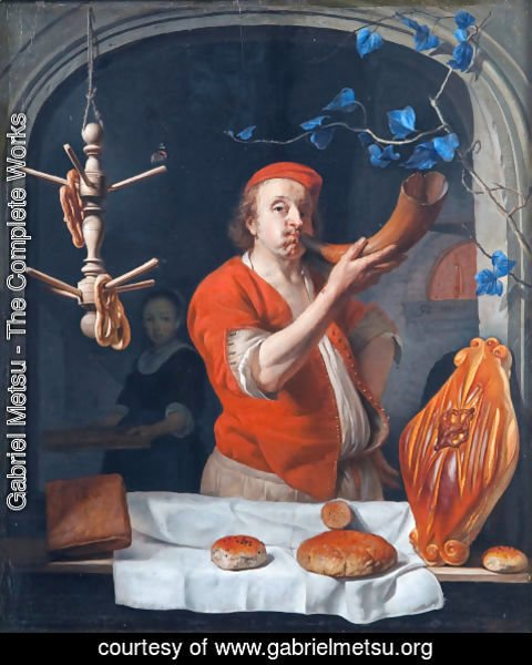 Gabriel Metsu - A Baker Blowing his Horn