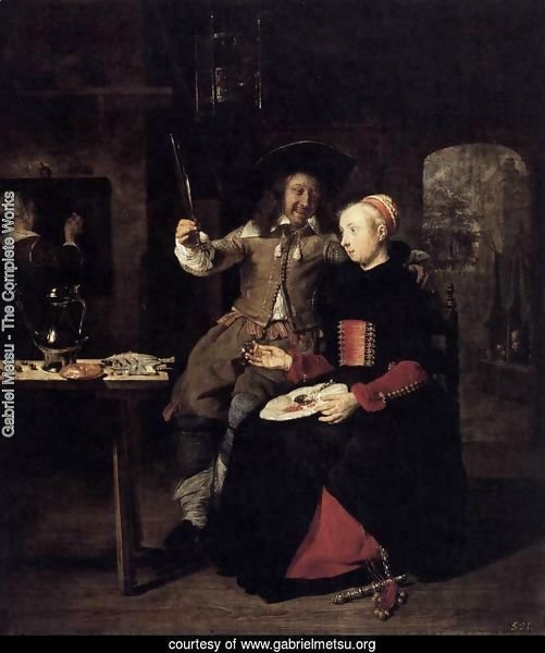 Portrait of the Artist with His Wife Isabella de Wolff in a Tavern 1661