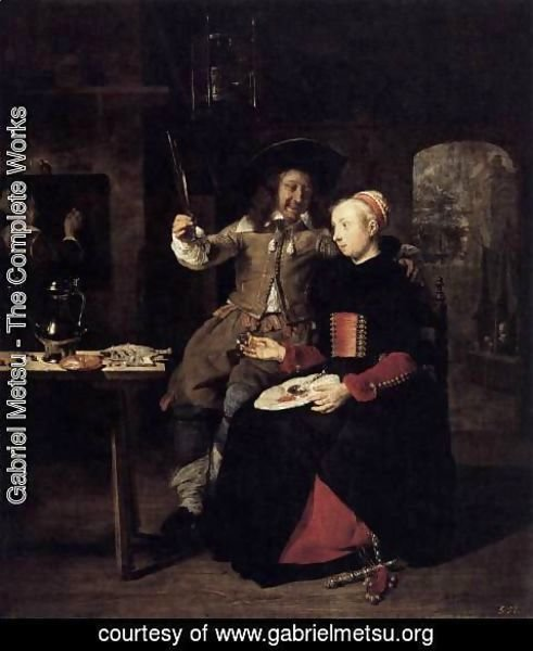 Gabriel Metsu - Portrait of the Artist with His Wife Isabella de Wolff in a Tavern 1661