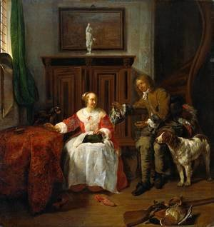 Gabriel Metsu - The Hunter's Gift 1658-60