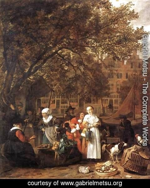 Gabriel Metsu - Vegetable Market in Amsterdam 1661-62